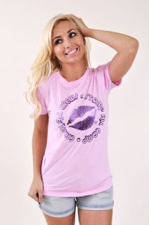 NEW WOMENS MARRIED TO THE MOB CRUSH ALL CREWS LIGHT PINK TEE T SHIRT