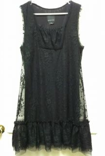 Anna Sui for Anthropologie Black Lace Dress Size L