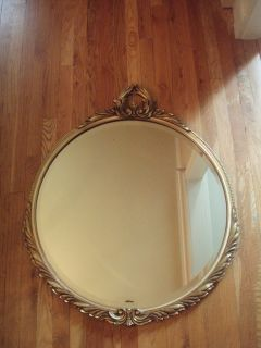 Vtg Antique Large Round Wood Gold Gesso Beveled Mirror