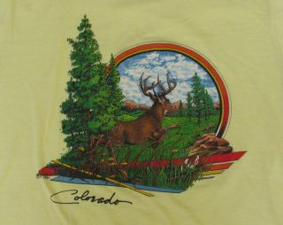 Vtg 80s COLORADO Deer T Shirt SIZE M Outdoors Soft Thin Indie Yellow