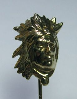NN) Antique Art Deco 14K Gold Native American Indian Chief Stick Pin