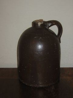 ANTIQUE STONEWARE WHISKEY/MOONSHINE 8 LB. JUG WITH CORK RARE !!!