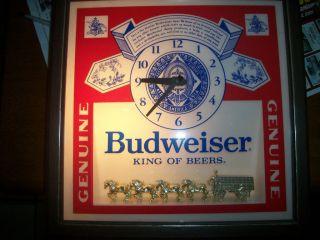 vintage budweiser beer bar clock time left $ 144 99