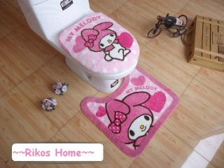 Unique Japan My Melody Bath Mat & Toilet Seats Lid Cover + FREE SHIP