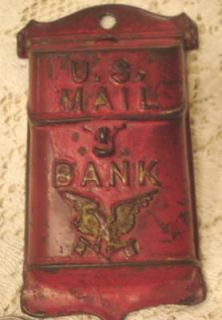 ANTIQUE CAST IRON COIN BANK WALL MOUNT MINI MAIL BOX EAGLE ORIGINAL
