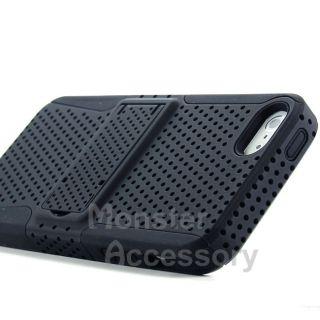 Black Kickstand Apex Hybrid Gel Hard Case Cover for Apple iPhone 5 5g