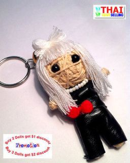 LADY GAGA Pop Star Singer Cool Handmade Voodoo Keychain Doll from