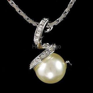 18K White Gold GP Swarovski Crystal With Pearl Fashion Necklace C28