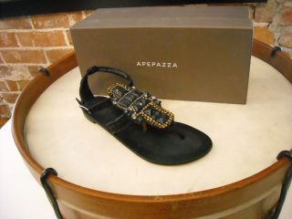 Apepazza Panay Black Suede Jeweled Gladiator Sandal New
