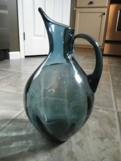 Vintage Blenko Art Glass Handmade Wayne Husted Optic Pitcher Decanter