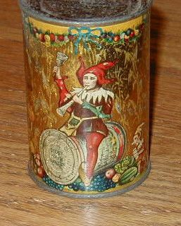 Antique Toy Coin Bank Tin Can Food Gnome Elf Elves Advertising Store