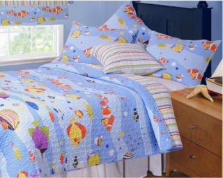 Aquarium Tropical Fish Twin Single Quilt Set Ocean Beach Comforter