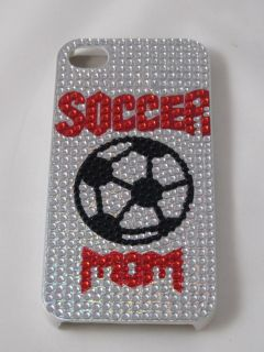 Apple iphone 4G 4S cell phone Cover case Silver color Soccer Mom