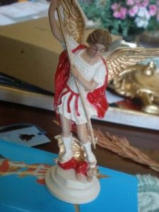 St Michael Statue 5inch Red White Gold