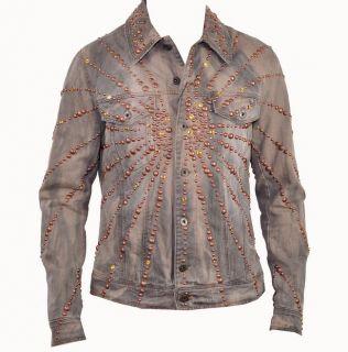 2000$ D G Dolce Gabbana Runway Crystal Strass Jeans Jacket Veste Grey