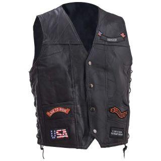 Mens Leather Motorcycle Biker Riding Vest jacket w 11 Patches M L XL