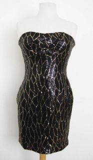As U Wish Large Black Gold Sequin Strapless Super Sexy Tube Dress Size