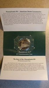 1996 $5 Marshall Islands Pennsylvania K4 Locomotive Commemorative Coin
