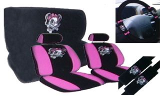 Lady Skull Girl Skeleton Pink Bow Complete Car Seat Cover Full Set STD