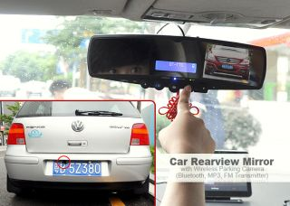 New Car Rearview Mirror with Wireless Parking Camera (Bluetooth,