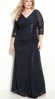 adrianna papell beaded mesh gown 20 w navy