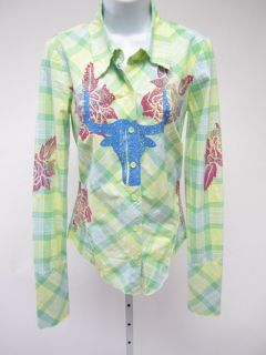 LOVE JUNKIE Green Yellow Plaid Floral Print Long Sleeve Button Down