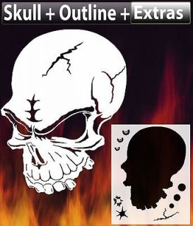 air brush stencil skull 9 double set outlines extras template harley