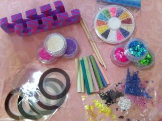 Lot Large Nail Art Supplies Glitter Rhinestones Tape Clay Canes