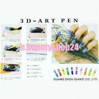 3D 12 Colors Nail Art Party Design Polish Pen Set Pens