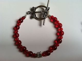 Anorexia (Ana) Support Red Bracelet  Dragonfly Solitaire, Toggle Clasp