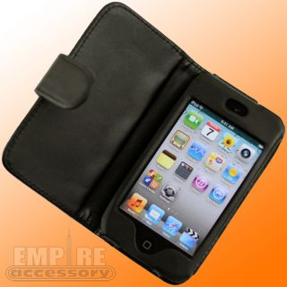 Black Leather Folding Case for Apple iPod Touch iTouch 4G 4th Gen New