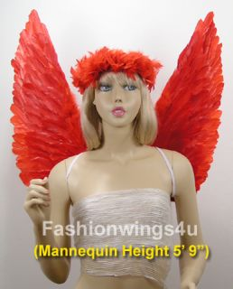 Red Up Point Devil Macaw Feather Angel Wings Halo Cupid Love Fire