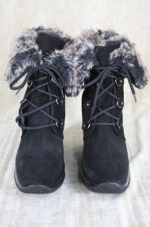 Aquatalia Marvin K Weatherproof Brass Black Suede Wedge Ankle Boots
