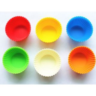 12PCS Silicone Round Cake Cupcake Muffin Baking Jelly Mold Mould