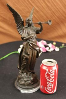 Signed Marioton Angel Bronze Sculpture Mythical Statue Art Figurine