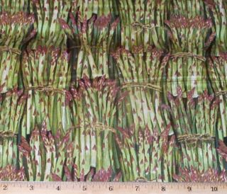Asparagus Spears Cook Food Veggies Makower UK Fat Quarter Fabric