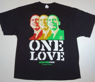 Barack Obama One Love T Shirt Tee Hope Peace Bob Marley New XXL