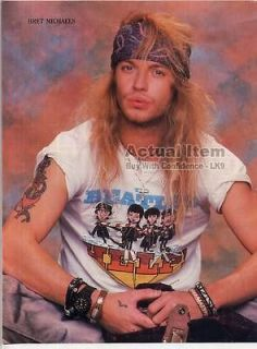 BRET MICHAELS MINI POSTER Pin up Page POISON Wearing a Beatles Shirt