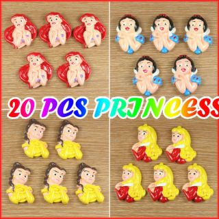 20 Pcs Princess Ariel Aurora Belle Snow White Resin Flatback Hair Bow