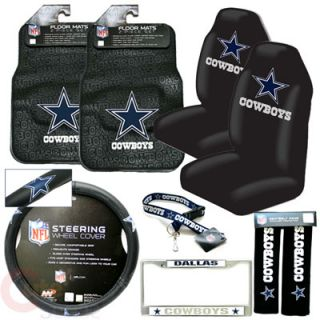 Dallas Cowboys Car Seat Cover Auto Accessories Set 9pc