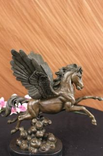 Signed Auguste Moreau Pegasus Bronze Fantasy Sculpture on Marble Base