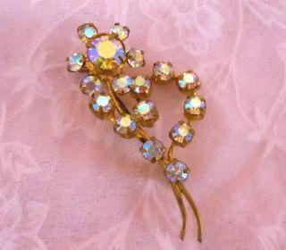 Signed Austrian Crystal AB Aurora Borealis Flower Brooch Pin Jewelry
