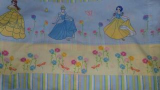 Disney Princess Belle Cinderella Aurora Snow White Blue floral Twin