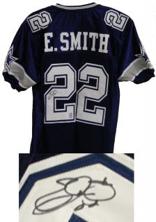 Emmitt Smith Signed Cowboys Navy Jersey w Emmitt Hologram Schwartz