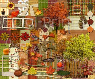 Digital Scrapbooking Kit Fall Splendor Autumn Mega Kit