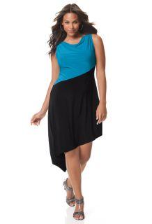 Avenue Plus Size Asymmetrical Stripe Dress
