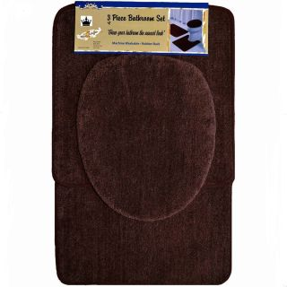 Piece Browm Bathroom Set Bath Contour Rug Lid Toilet seat Cover Mat