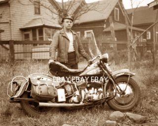 1946 Harley Davidson Motorcycle HD Club Rider Biker Photo