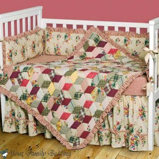 Flower Patchwork Baby Girl Crib Nursery Quilt Bedding Set