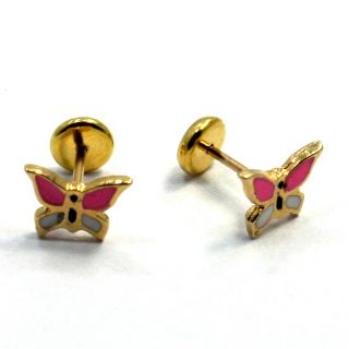 18k GF Little Earrings Pink Butterfly Earrings Girl Baby Security Stud